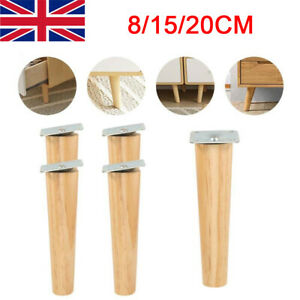 4PCS Wooden Furniture Legs Square Tapered 8/15/20cm Feet For Stools Sofa Chair