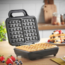 Dual non-stick Belgian Waffle Maker 2 slices grill stainless steel 1000W