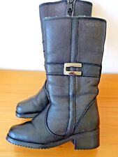 Pajar Canada Black Leather Boots Genuine Shearling Lining size 7, EUR 37