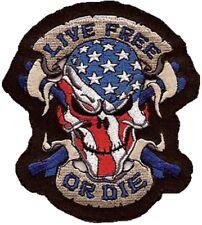 Aufnäher Patch Live Free or Die USA Skull Totenkopf Lethal Threat Custom Bikes