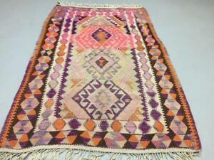 Antique Turkish Moroccan Kilim Rug shabby vintage old wool Kelim 140x94cm Small