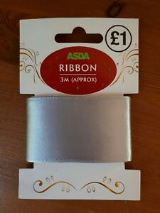 Silver grey fabric ribbon, wrapping Christmas presents, craft, 4cm wide, 3m long