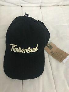 Mens Timberland Cotton Canvas Black Strapback Baseball Cap Hat