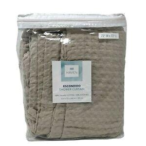 Haven Escondido Shower Curtain 100% Organic Cotton 72 x 72 Linen Brown Waffle