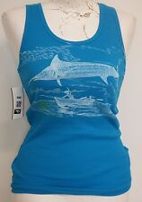 Guy Harvey Blue Tank Top with White Graphic Design Small