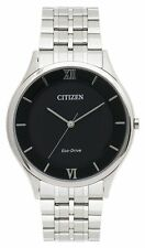 CITIZEN AR0071-59E Eco-Drive Stiletto Thin Stainless Steel Black Dial Mens Watch
