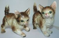 Vtg LEFTON Porcelain TABBY CAT Kitten Figurines Statues 10214 and 8021 JAPAN