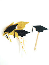 12 Graduation Black & Gold Glitter Cupcake Toppers Hats, graduation topper