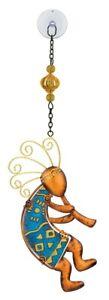 Kokopelli Glass Metal Hanging Sun Catcher NEW blue dancer native art southwest