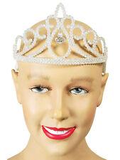 Womens Girls White Glitter Tiara Diamond Jewel Fancy Dress Angels Fairytale Kids