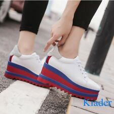 Women's Color Stitching Creepers Lace Up Oxfords Med Wedge Heels Platform Shoes
