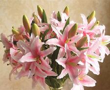 6-Head Silk Flowers Lily Artificial Plant Home Table Arrangement Light Pink