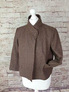 Great Plains Box Jacket Wool Brown Rust Pink Blend Tweed Style Career Size M