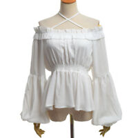 Lolita Girls Boat Neck Flounce Chiffon Shirt High Waist Long Sleeves Blouse