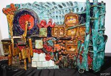 Pièce unique-xxl céramique plaque murale-Display - 1960ies - 57cm