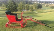 Miniature Horse Small Pony Sleigh With All Year Wheels Red With Gold Velvet Seat