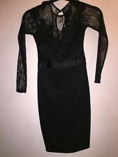 BNWT LIPSY LONDON SIZE 6 LACE LONG SLEEVE BLACK DRESS