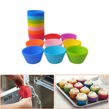 10x Silicone Gâteau Coupe Cuisson Cupcake Muffin Moule Bake Mariage Anniversaire