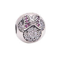 Authentic Genuine S925 Silver Disney Minnie Mouse Pave Clip Charm Bead