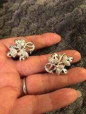 Vintage Coro Acorn Earrings- Silvertone, Stamped, Clip On