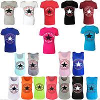 de mujer Nuevo Converse All Star Logo Estampado Camiseta Camiseta Talla 8-14