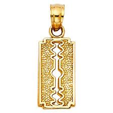 Real 14K Yellow Gold Shaving Razor Blade Vintage Small Charm Pendant