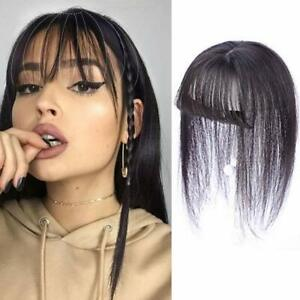Handmade Silk Straight With Flat Bang Fringe Clip in Remy Human Hair Topper Cove