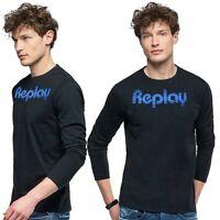 T-shirt da uomo REPLAY manica lunga girocollo maglietta cotone nero tshirt M3973