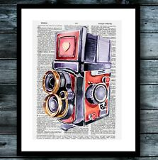 Camera Dictionary Print Poster Watercolor Photography Modern Vintage Art Decor