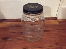 Antique Vintage Large Round Necco Candies Candy Store Display Jar w/Original Lid