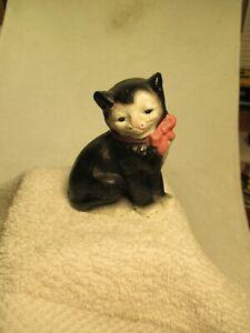 Sitting CAT Figurine Cast Iron Hand Painted Black White