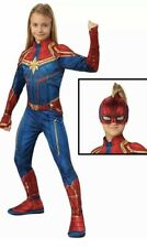 Captain Marvel Girls Child Deluxe Padded Superhero Costume Suit  Sz M 8-10 NEW