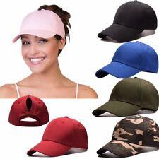 Ponycap Messy High Bun Ponytail Adjustable Solid Cotton Washed Baseball Cap Hat