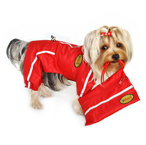 Klippo Dog Clothes Raincoat Bodysuit with Reflective Stripes and Pouch  XS-XL