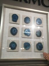 "MODERN NATURAL BLUE AGATE STONES UNDER GLASS XXL 32"" SHADOW BOXES WALL ART"
