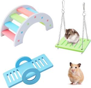 Andiker Colorful Hamster Toys 3 Pack, Rainbow Bridge & Seesaw & Swing, Hamster