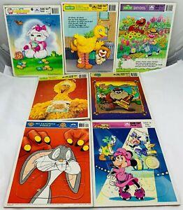 1980's-90's Golden Frame Tray Puzzles Sesame Street, Disney, Looney Tunes