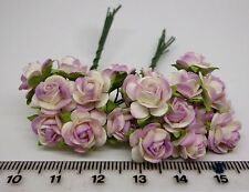 10 Mulberry Paper Roses Flowers Dolls House Miniature Flower Garden ( 10 only)