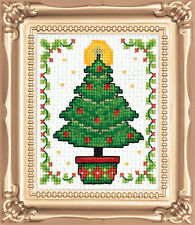 Cross Stitch Kit Design Works Christmas Tree Picture w/Frame & Mat #DW595