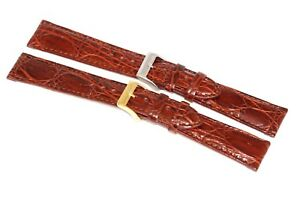 Genuine Crocodile Cognac Brown Stitched Watch Band Strap Handmade In Italy