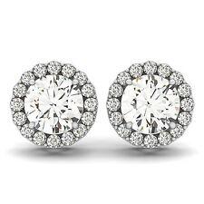 0.34 CT ROUND DIAMOND HALO SEMI-MOUNT EARRINGS