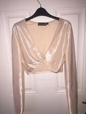 Prettylittlething long sleeved plunge crop top, Champagne, UK10