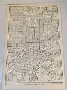 "Antique 1915 Street Map of Portland, Oregon 10x15"""