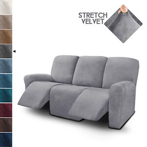 3 Seater Recliner Sofa Covers Velvet Stretch Reclining Couch Covers