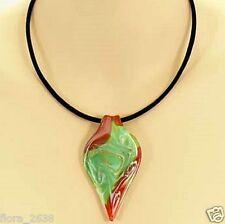 Collier, pendentif Murano vert, rouge, cordon velours noir, bijoux fantaisie