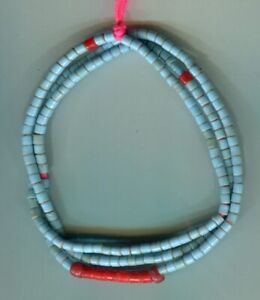 African Trade beads Vintage Bohemian Czech glass old blue tile beads