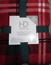 QUEEN/KING CHRISTMAS PLAID FLEECE THROW BLANKET MICROPLUSH 104X90 NEW