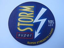 Beer Brewery Coaster: STORM Super Strength Lager 9% ABV ~ RARE - England Brewers