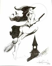 ORIGINAL MIKE HOFFMAN INK NUDE WITCH GIRL FEMALE WOMAN ART PAINTING PIN UP