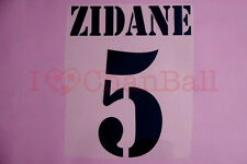 Zidane #5 2001-2003 Real Madrid Homekit Nameset Printing
